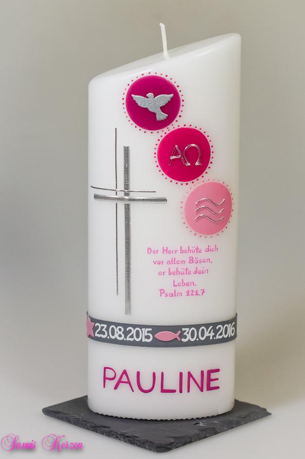 Taufkerze Zeichen mit Taufspruch oval abg. in der Farbe weiß für nur 40,50 €