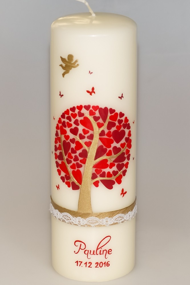 Taufkerze Herzbaum mit Engel wollweiß in der Farbe wollweiß  für nur  48,36€