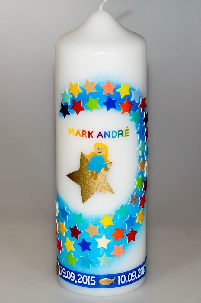 Taufkerze Lennart mit Sternen und Engel