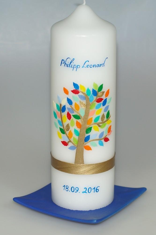 Taufkerze bunter Blätterbaum in weiß in der Farbe weiß  für nur 42,36€