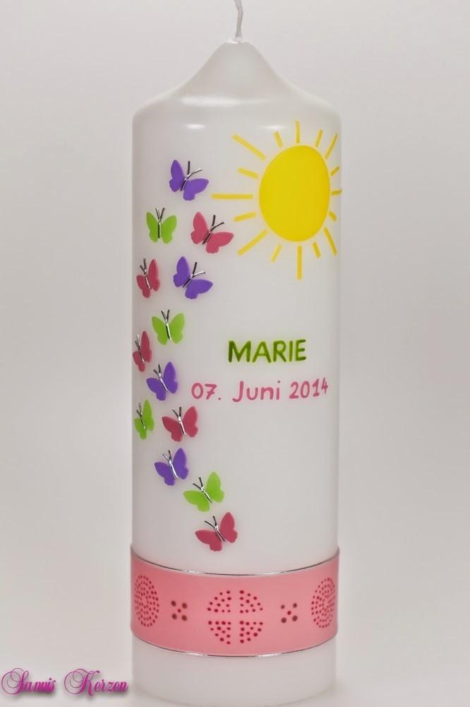 Taufkerze Schmetterlinge & Ornamente in der Farbe weiß  für nur 42,00€