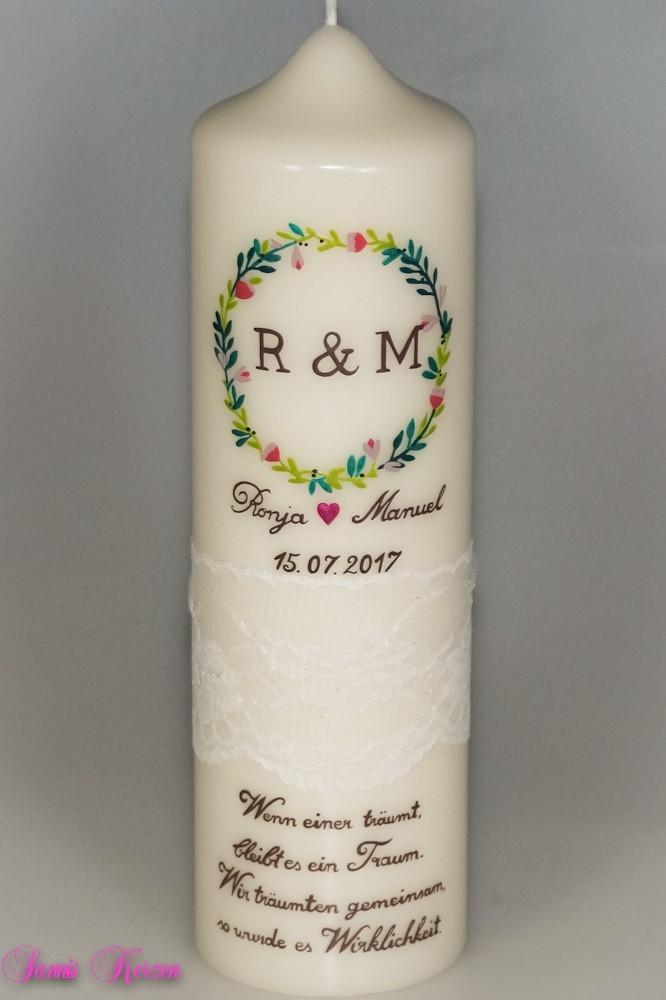 Hochzeitskerze Kranz mit Spruch in der Farbe weiß  für nur  49,00€