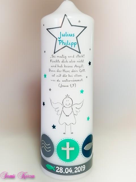 Taufkerze Engelszeichen mit Sternen in der Farbe weiß  für nur  45,50€