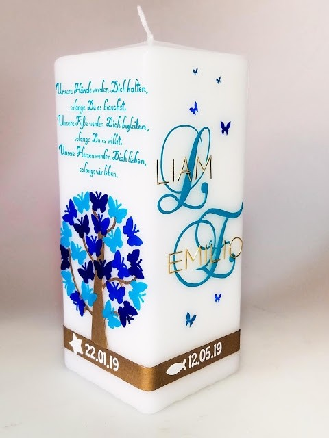 Taufkerze viereckig türkis-blau-gold in der Farbe weiß  für nur  63,36€