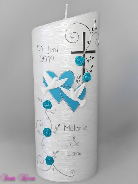 """Hochzeitskerze """"romantisch"""" in türkis in der Farbe perlmutt  für nur 39,79€"""