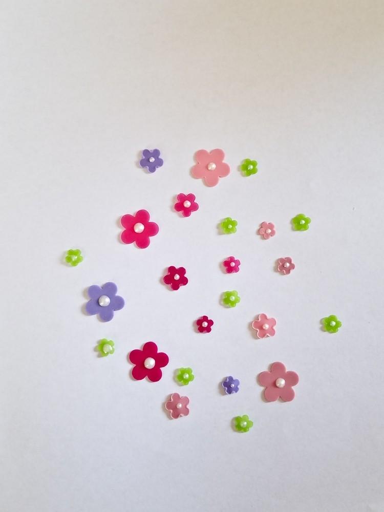 freie Farbwahl 24 Perl Wachs-Blüten 6 Farben Mix für nur  6,00€