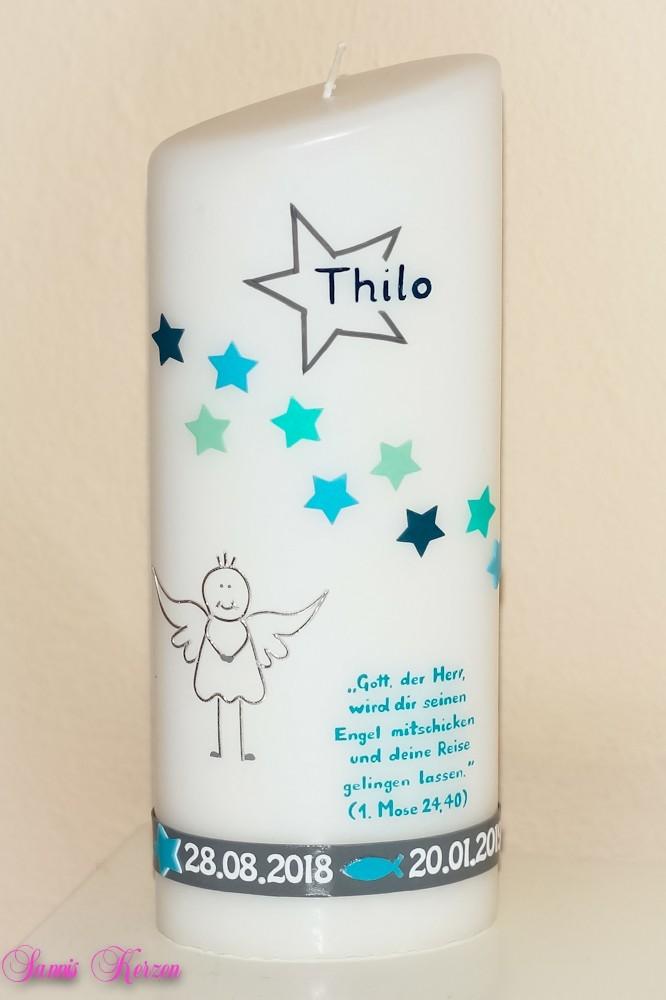 """Taufkerze """"Sternchen, Engel mit Spruch"""" oval abg. in der Farbe weiß  für nur  40,50€"""