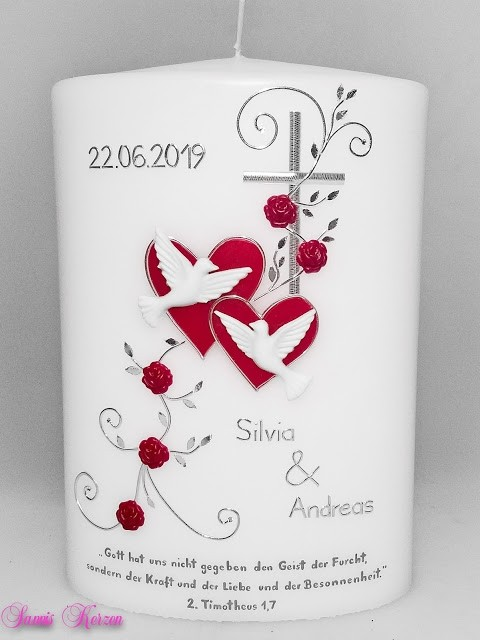 """Hochzeitskerze """"romantisch"""" mit Spruch oval breit in der Farbe weiß  für nur  52,70€"""