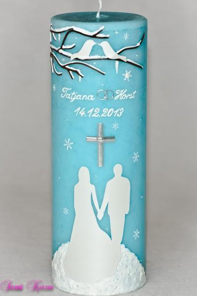 Hochzeitskerze winterfairytale mit Lovebirds für nur  45,36€