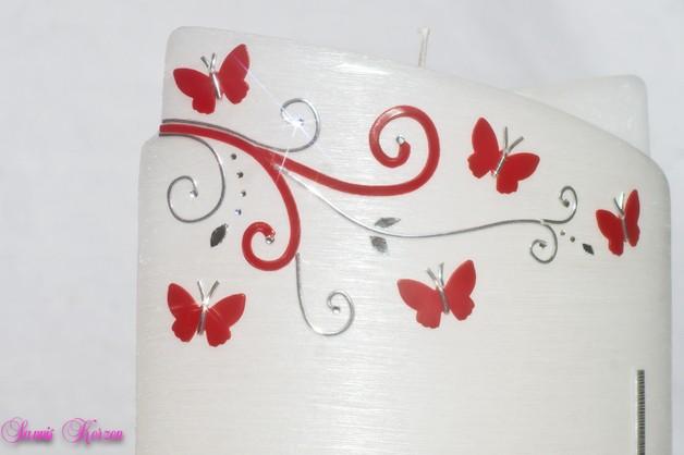 """Hochzeitskerze """"romantisch S&P"""" Perlmutt"""