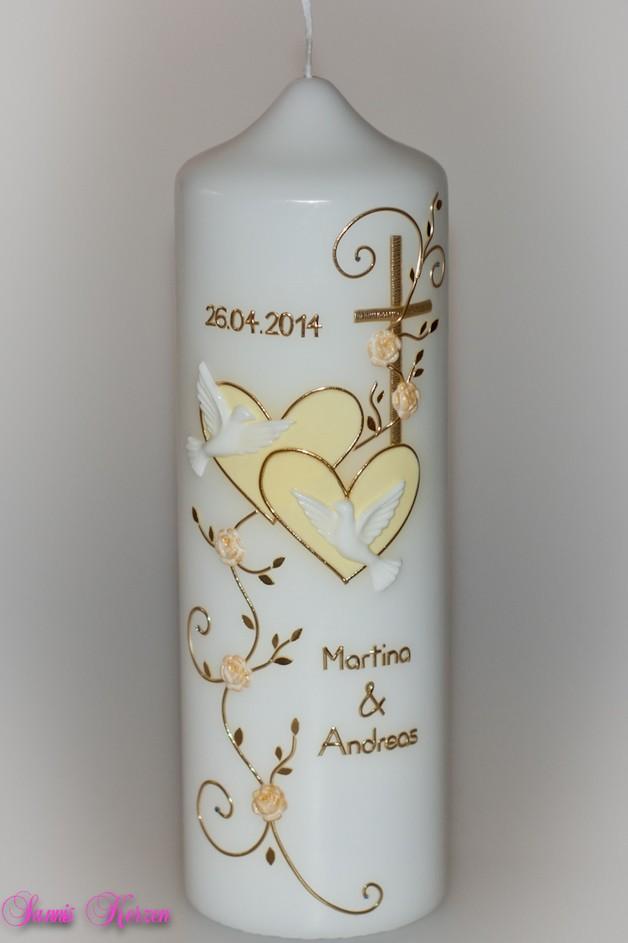 """Hochzeitskerze """"romantisch"""" mit Blättern für nur  33,00€"""