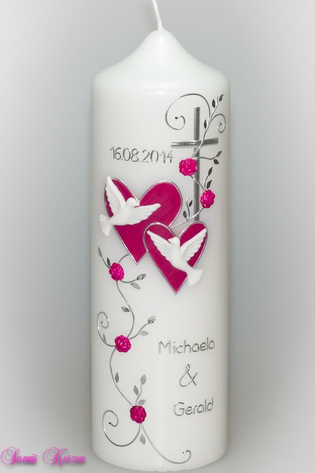 """/Hochzeitskerze """"romantisch"""" mit Blättern von weiß for 33,00€"""