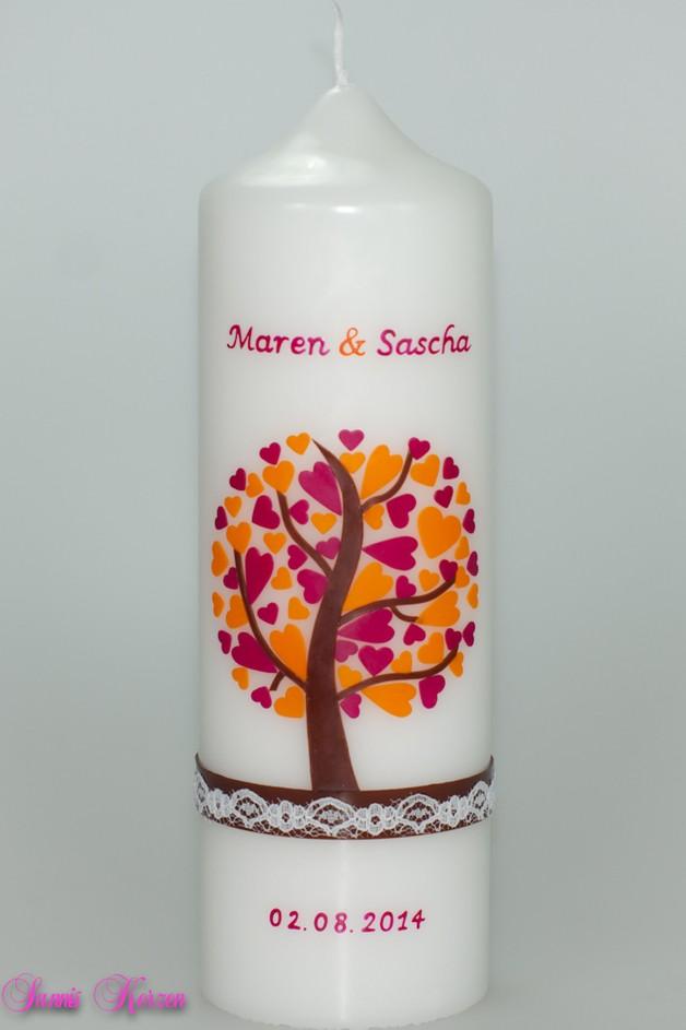/Hochzeitskerze Herzbaum mit zarter Spitze von weiß für nur 41,36€