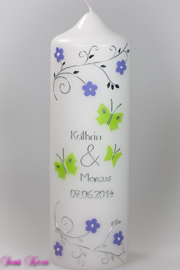 Hochzeitskerze Schmetterlinge und Blütenranken für nur  29,75€