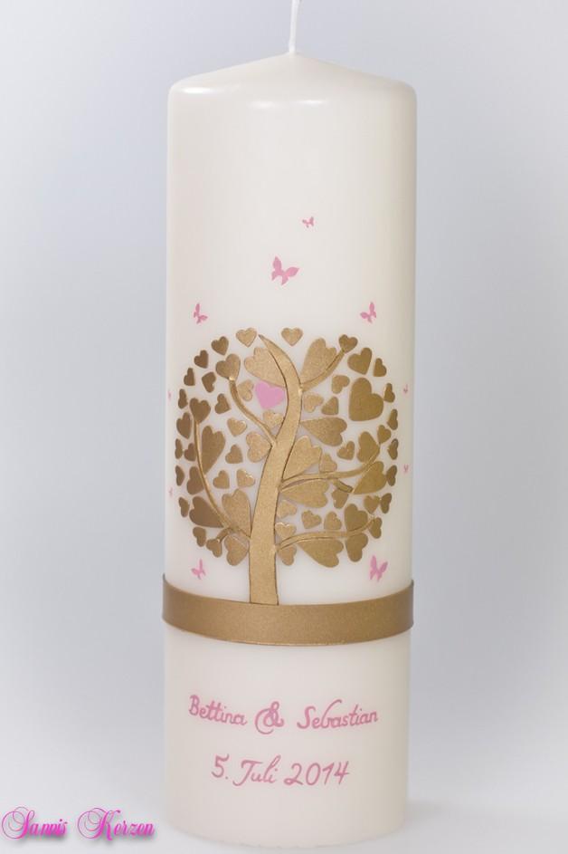 Hochzeitskerze Herzbaum mit Schmetterlingen (wollweiß) in der Farbe wollweiß  für nur 46,36€