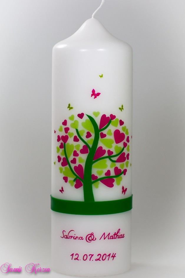/Hochzeitskerze Herzbaum mit Schmetterlingen von weiß for 44,36€