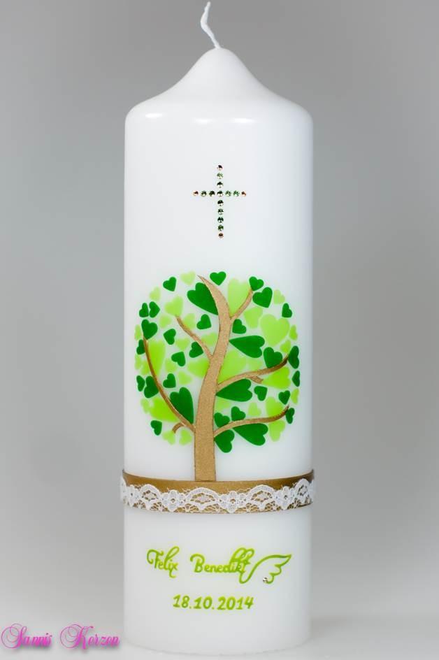 Taufkerze Herzbaum