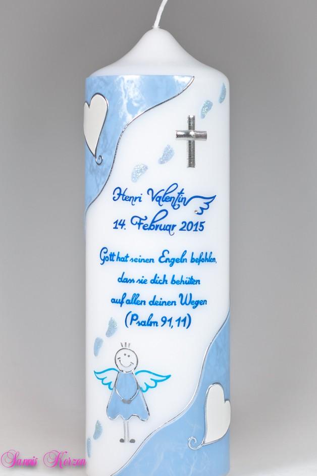 Taufkerze Engel mit Fußspuren