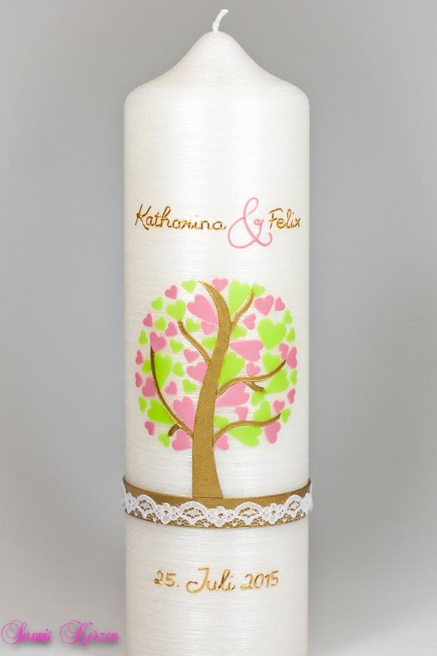 /Hochzeitskerze Herzbaum Perlmutt von perlmutt for 51,36€