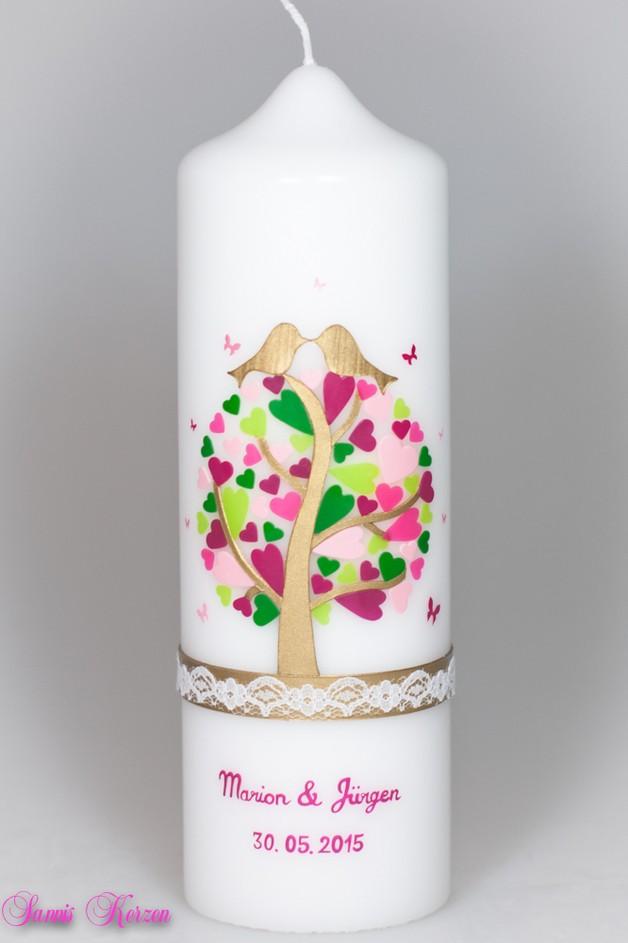 Hochzeitskerze Herzbaum mit Schmetterlingen und Sp für nur  45,36€