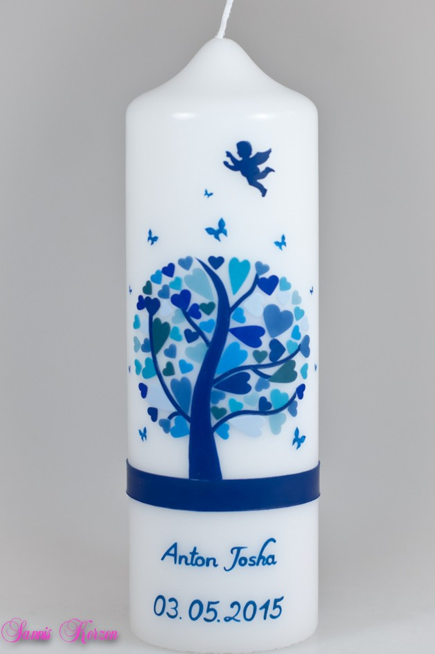 Taufkerze Herzbaum mit Engel