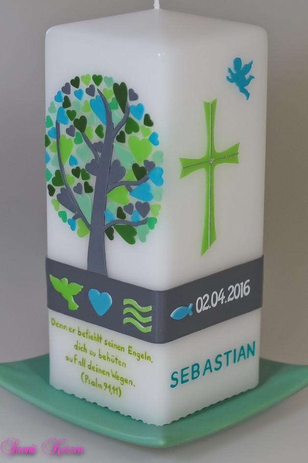 Taufkerze Herzbaum viereckig in der Farbe weiß  für nur  56,36€