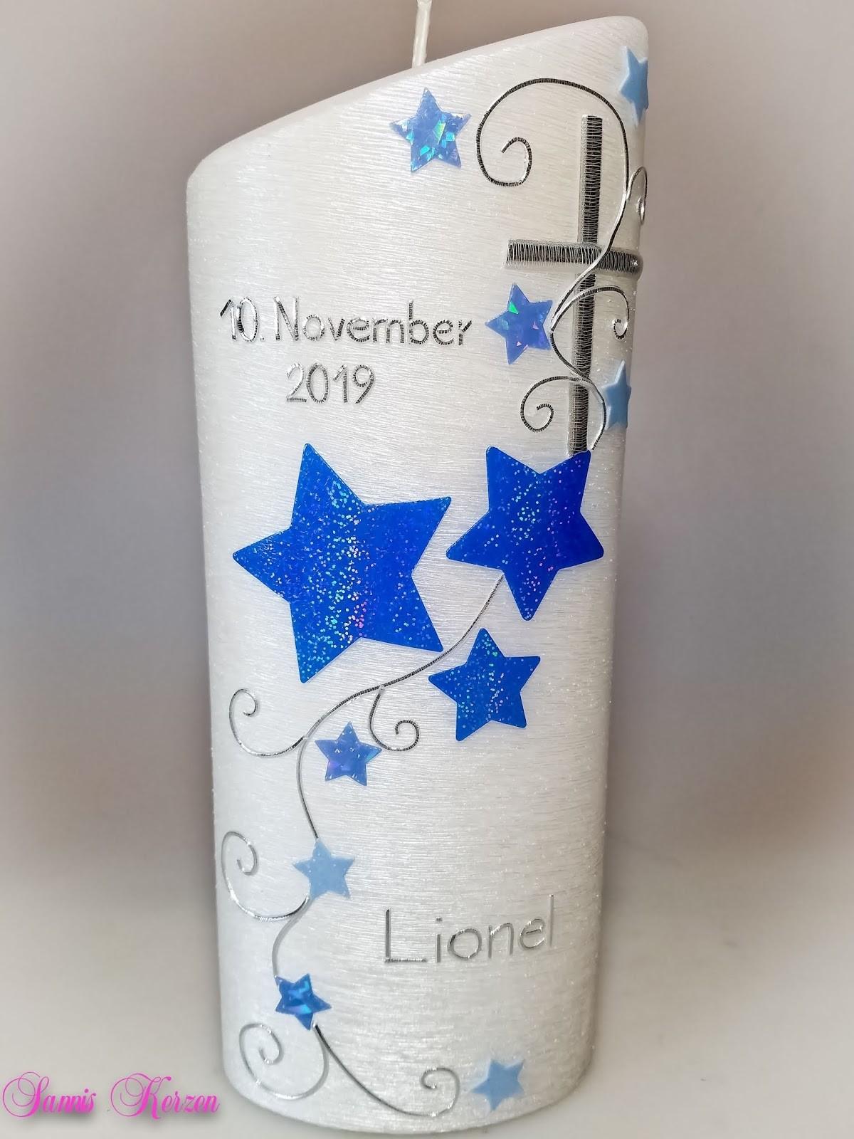 Taufkerze mit Glitzer Sterne oval abg. Perlmutt in der Farbe perlmutt  für nur 42,60€