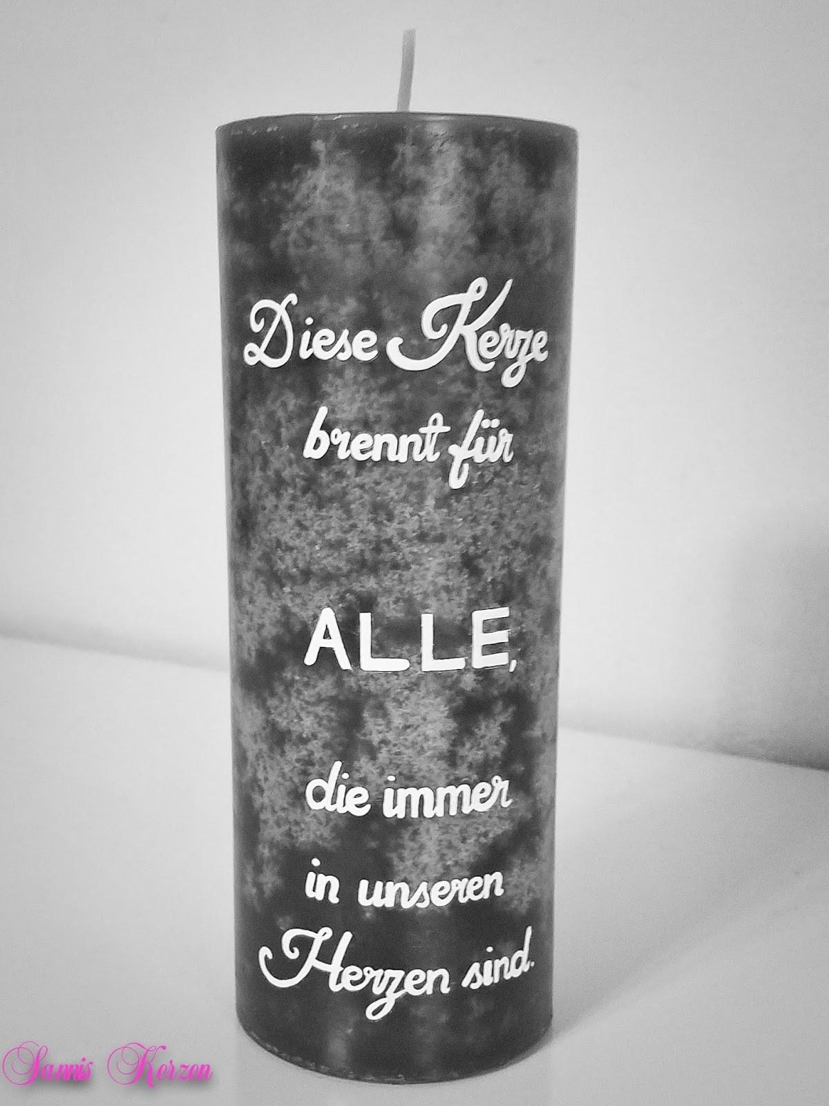 """Hochzeit Gedenkkerze für Verstorbene """"Text"""" in der Farbe grau  für nur 22,50€"""