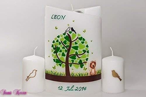 Taufkerze Herzbaum mit Tieren doppel oval abg. + 2 Gästekerzen in der Farbe weiß  für nur 63,00€