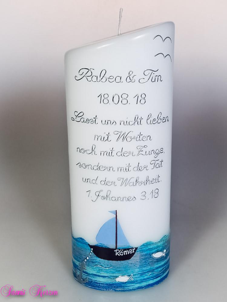 Hochzeitskerze oval abg. in der Farbe weiß  für nur 48,00€