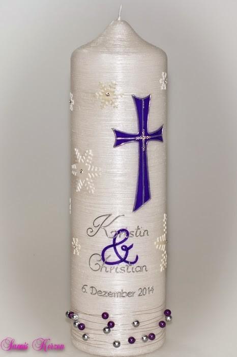 """Hochzeitskerze """"Schneefall"""" Perlmutt in der Farbe weiß  für nur 46,00€"""
