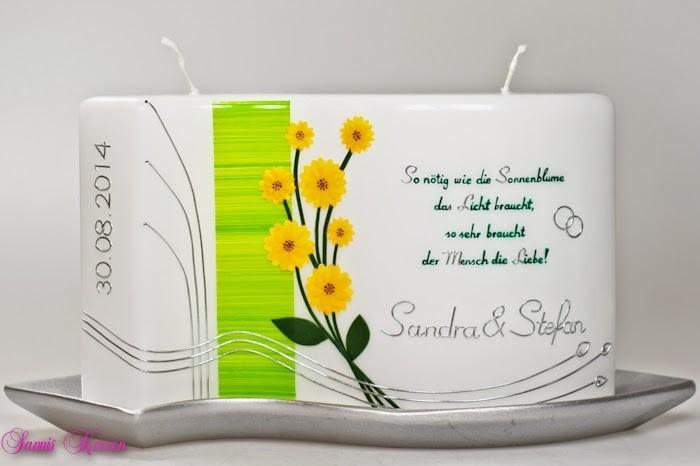 """Hochzeitskerze """"Blütenzauber"""" mit Spruch in der Farbe weiß  für nur  61,00€"""