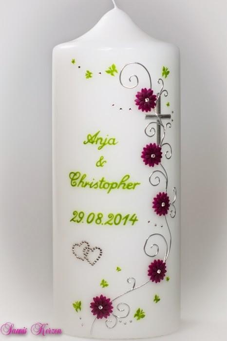 """Hochzeitskerze """"romantisch und Blütenranke"""" mit Schmetterlingen"""