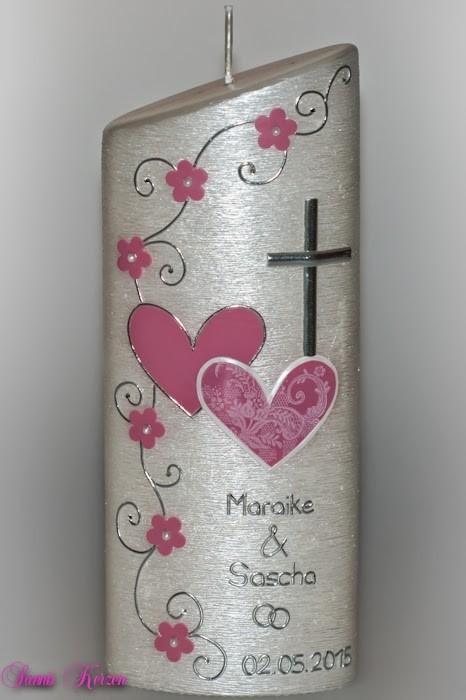 """Hochzeitskerze """"romantisch""""  mit Spitze oval abg. Perlmutt in der Farbe weiß  für nur 39,79€"""