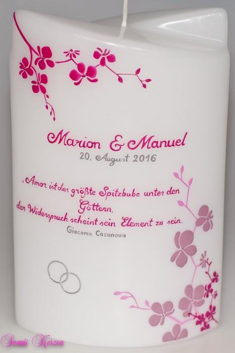 Hochzeitskerze Orchideen mit Spruch doppelt oval abg. in der Farbe weiß  für nur 58,00€
