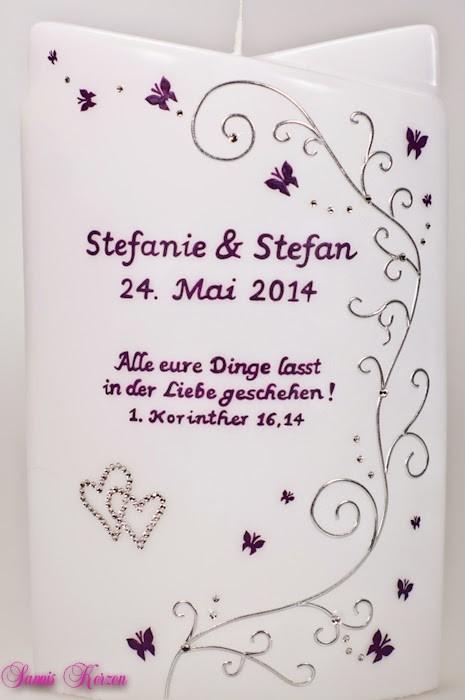 """Hochzeitskerze """"Schmetterlingsranken"""" doppelt oval abg. in der Farbe weiß  für nur  59,00€"""