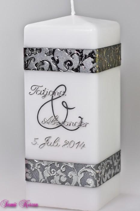 """Hochzeitskerze """"Ornament"""" viereckig in der Farbe weiß  für nur  37,00€"""