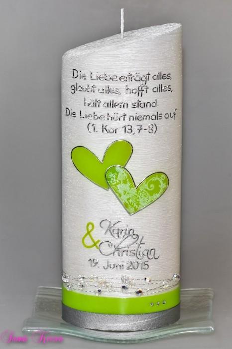 """Hochzeitskerze """"schlicht"""" vintage mit Spruch oval abg. Perlmutt in der Farbe weiß  für nur 63,36€"""