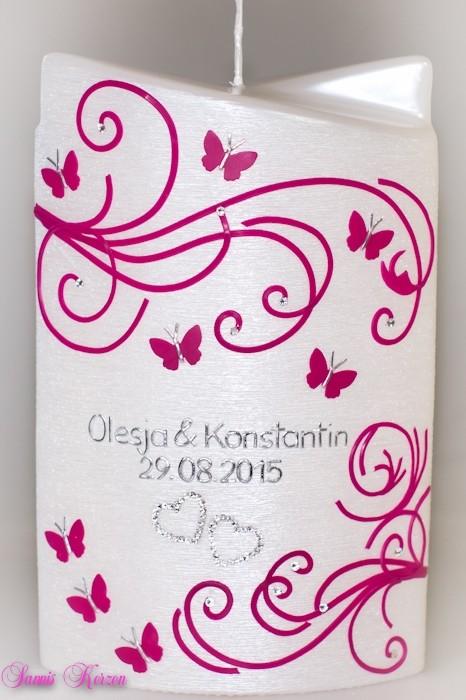 """Hochzeitskerze """"Ranken"""" doppelt oval abg. in der Farbe weiß  für nur 46,00€"""