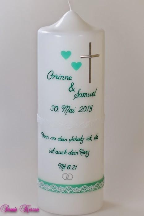 """Hochzeitskerze """"Schlicht mit Spitze"""" in weiß in der Farbe weiß  für nur  37,00€"""