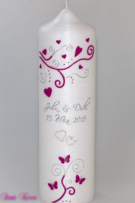 """Hochzeitskerze """"S&P"""" ohne Kreuz Perlmutt in der Farbe weiß  für nur  43,00€"""