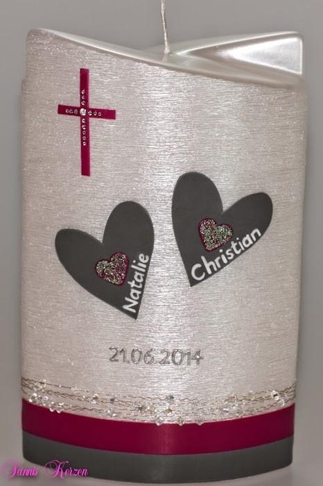 """Hochzeitskerze """"Herz im Herz"""" doppelt oval abg. Perlmutt in der Farbe weiß  für nur 47,00€"""