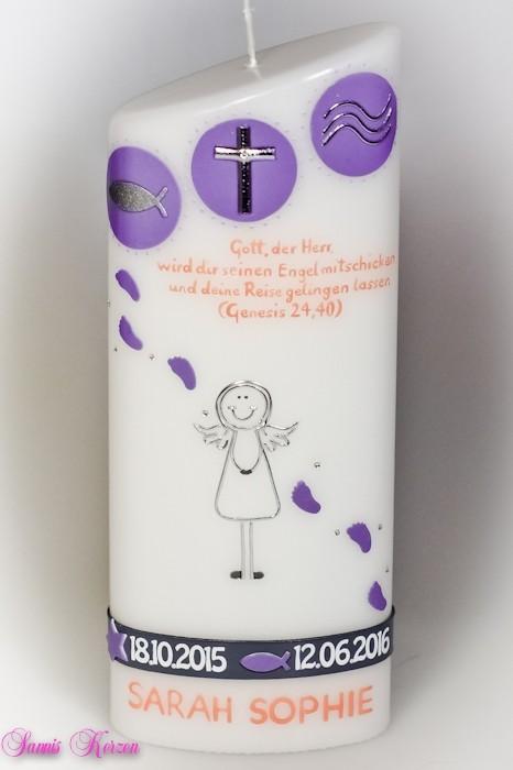 Taufkerze Zeichen Engel mit Taufspruch oval abg. für nur  44,50€