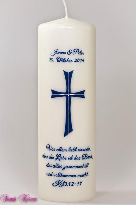 """Hochzeitskerze """"Kreuz mit Spruch"""" wollweiß in der Farbe wolllweiß  für nur 37,00€"""