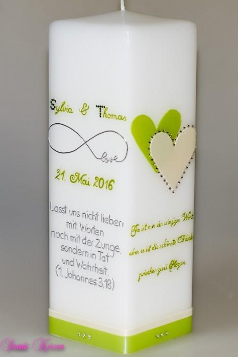 """Hochzeitskerze """"2Sprüche"""" viereckig groß in weiß in der Farbe weiß  für nur  45,00€"""