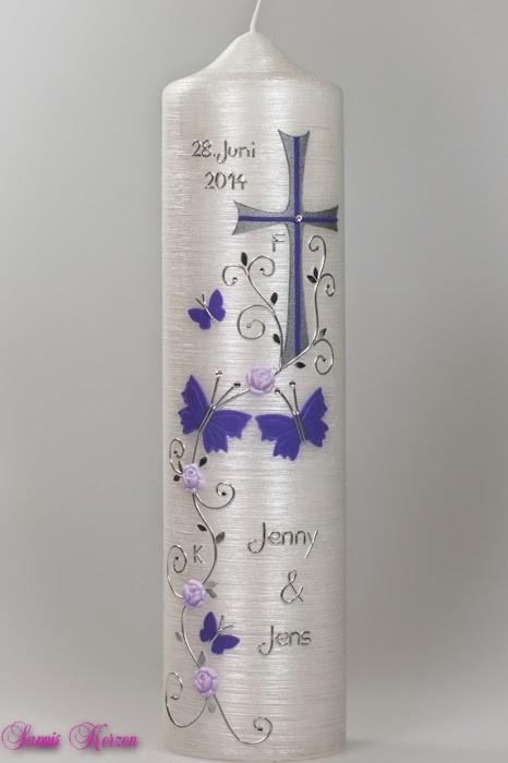 """Hochzeitskerze """"Schmetterlingsfamilie"""" in Perlmutt in der Farbe Perlmutt  für nur 39,60€"""