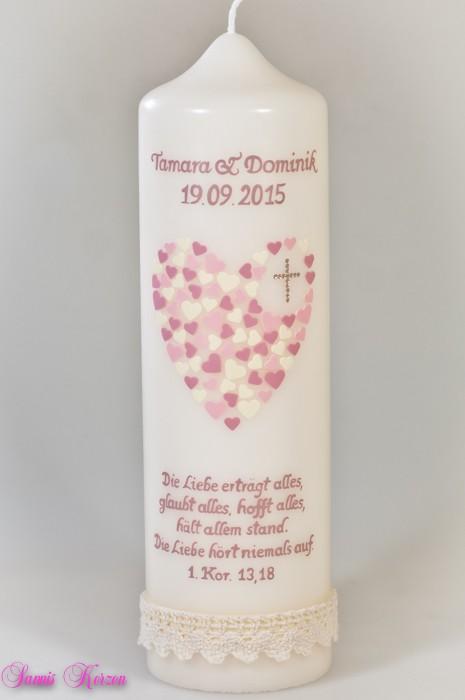 Hochzeitskerze Herz aus Herzen wollweiß in wollweiß in der Farbe wollweiß  für nur  50,00€