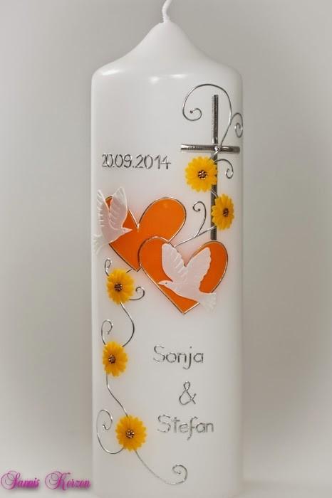 """Hochzeitskerze """"romantisch"""" mit Blumen in der Farbe weiß  für nur 32,40€"""