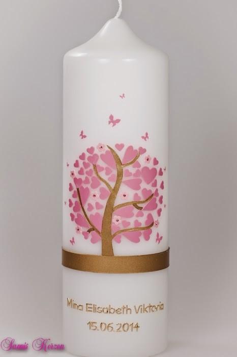 Taufkerze Herzbaum mit Schmetterlingen in der Farbe weiß  für nur  44,36€
