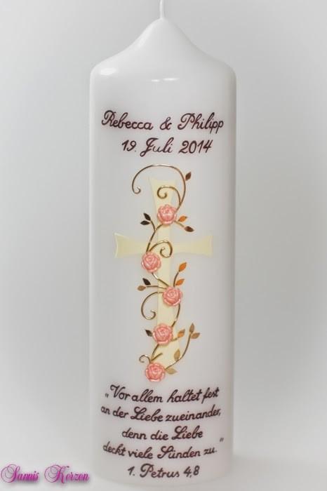"""/Hochzeitskerze """"Kreuz mit Blüten"""" und Spruch von weiß in der Farbe weiß  für nur 39,00€"""